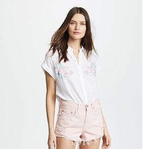 Rails Whitney White Embroidered Top M